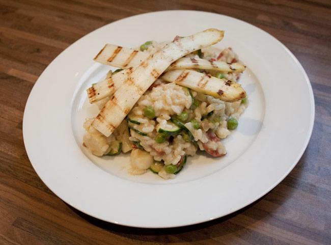 risotto asperges chorizo