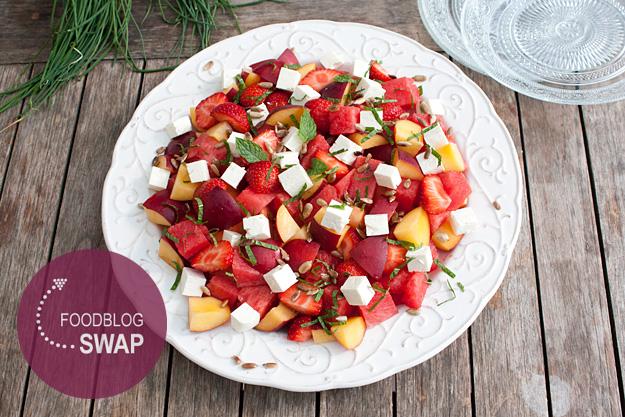 meloen en nectarine salade met feta