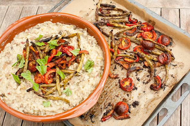 Risotto funghi met geroosterde groenten