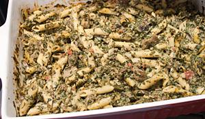 Ovenpasta met pesto en spinazie