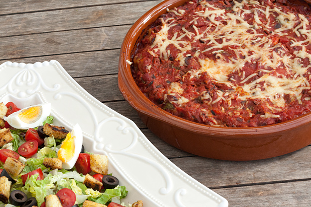 Cannelloni met salami, spinazie en ricotta